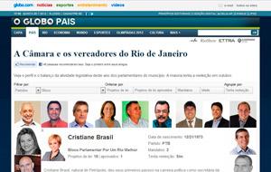 Vereadora Cristiane Brasil teve seu mandato tratado no site especial do O Globo.