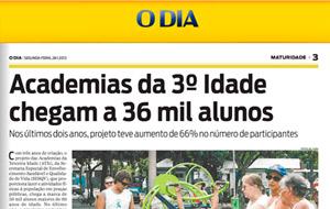 Cresce o número de usuários das Academias da Terceira Idade no Rio. Jornal O Dia deu destaque ao assunto!