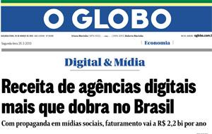 A Exa Multimídia foi fonte do caderno Digital&Mídia na matéria sobre o crescimento das receitas de agências digitais.