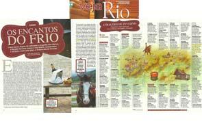 A Pousada Les Roches foi citada em matéria da Veja Rio sobre os encantos da serra.
