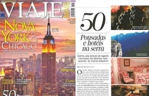 A Pousada Les Roches participou de matéria na revista Viaje Mais sobre 50 hotéis e pousadas na serra.