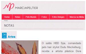 A exposição da artista plástica Dora Lima no HBD Spa foi destaque no site da Marcia Peltier