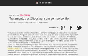 No site M de Mulher, o dentista Marcelo Fonseca fala sobre tratamentos estéticos para o sorriso