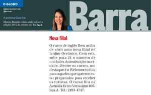O Globo Barra publicou nota sobre a nova filial do Ibeu no bairro