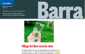 A participação da cervejaria Three Monkeys Beer no Village Art Beer é destaque no O Globo Barra