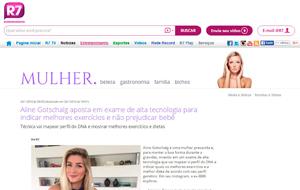 A parceria do exame genético Simply Fit Brasil com a ex-BBB Aline Gotschalg é destaque no Portal R7
