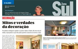 A arquiteta Marcelle Castro Neves é fonte em matéria sobre os mitos e verdades da decoração, no O Globo Zona Sul