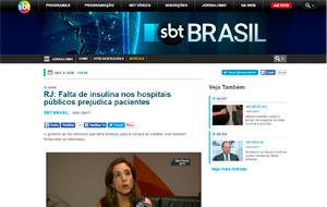 A endocrinologista Mariana Farage foi fonte em matéria sobre fitas de insulina, no jornal SBT Brasil