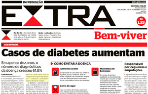 A endocrinologista Mariana Farage é fonte em matéria sobre diabetes, no jornal Extra